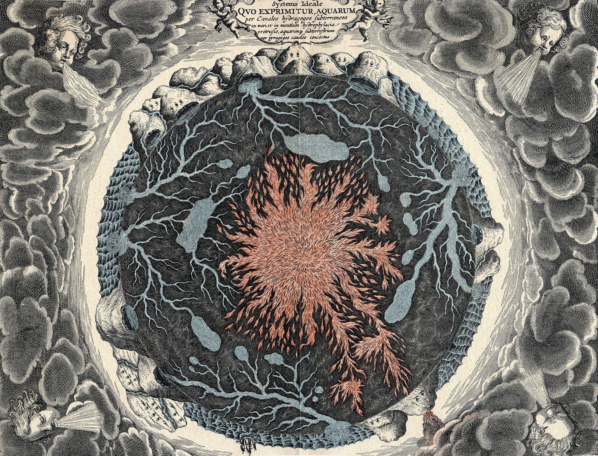 Athanasius Kircher: Mundus Subterraneus (1664, rytina)