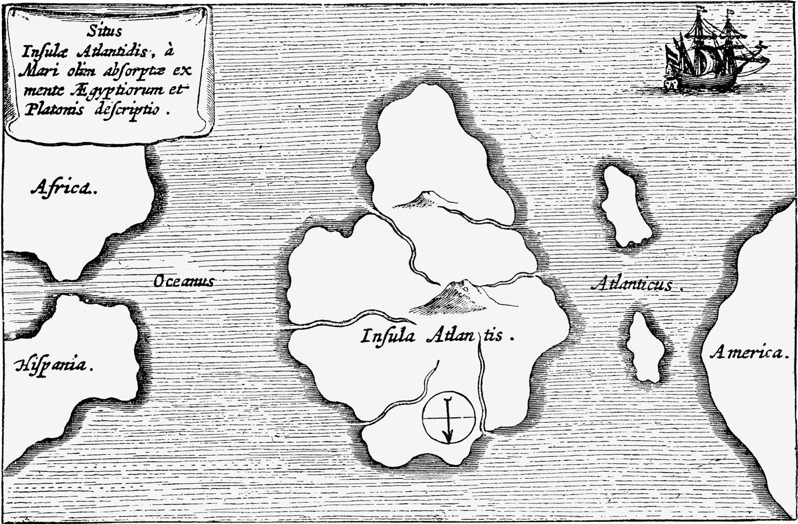 Athanasius Kircher: Mundus Subterraneus - Atlantis (1664, rytina)