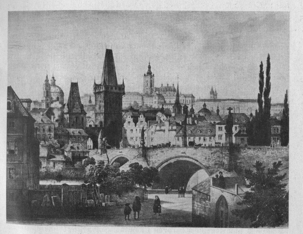F. H. Landmann: Malá strana a Hradčany s Kampy (bar. litografie 1844-57)