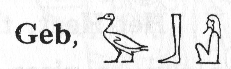 Jméno boha Geba zapsané hieroglyficky