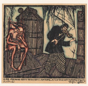 Stefan Eggeler (Austrian, 1894-1969), Der Spielmann und der Teufel im verwunschenen Schloss. The musician and the devil in the enchanted castle, 1920. Woodblock print, 17 x 18 cm.