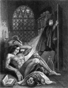 Theodore Von Holst (1810-1844), rytina pro úvodní ilustraci opraveného vydání Frankensteina Mary Shelleyové, Colburn and Bentley, Londýn 1831.