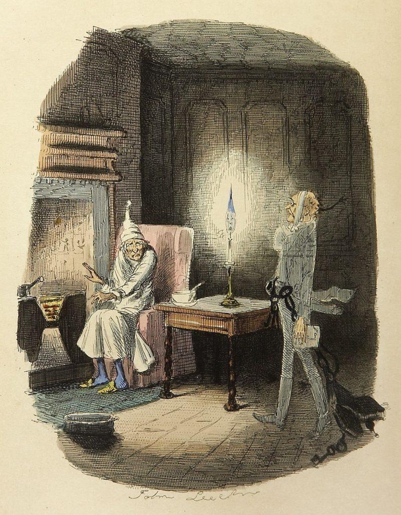 Ve Vánoční koledě Charlese Dickense navštívil Ebenezera Scrooge duch Jacoba Marleyho (ilustroval John Leech, kreslíř časopisu Punch, 1843)