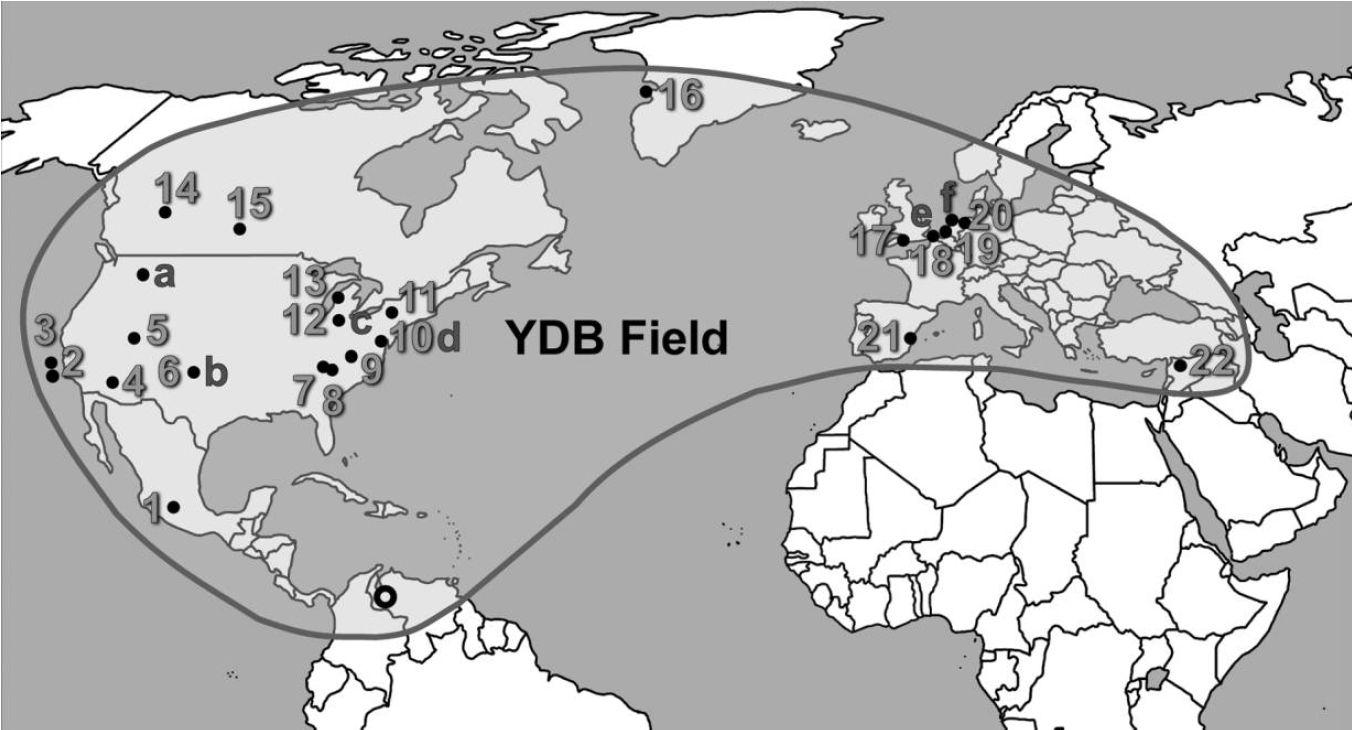 Mapa ukazující 24 lokalit s výskytem nanodiamantů z hraničního pole mladšího dryasu